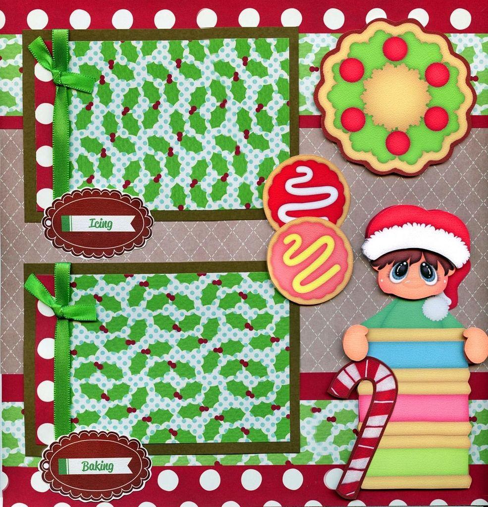 Premade Christmas Cookies  CHRISTMAS COOKIES 2 premade scrapbook pages paper piecing