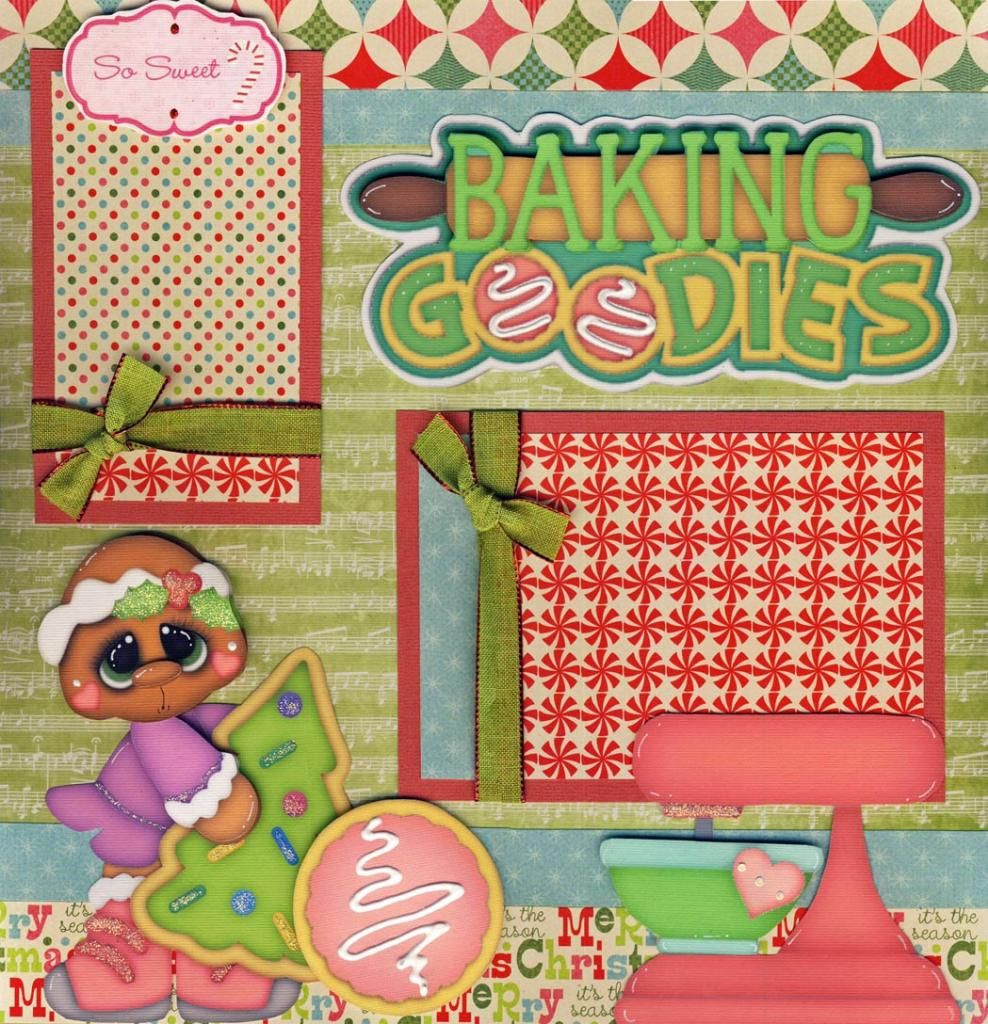 Premade Christmas Cookies  CHRISTMAS COOKIES girl 2 premade scrapbook pages paper