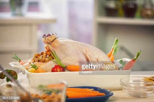 Prep A Turkey For Thanksgiving  Preparing Turkey For Thanksgiving Dinner Stock