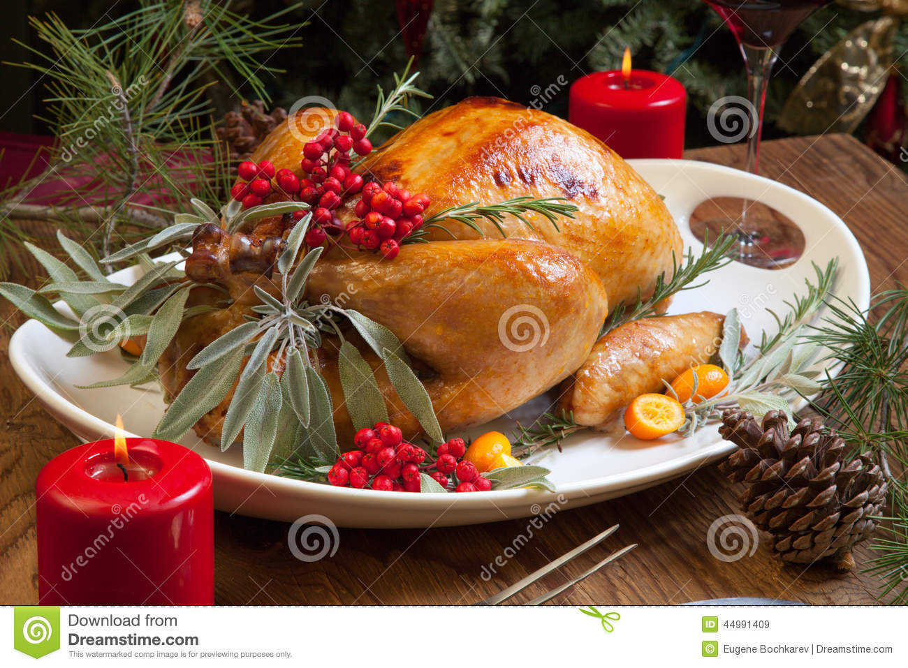Prepared Christmas Dinners To Go  Christmas Turkey Prepared For Dinner Stock Image Image