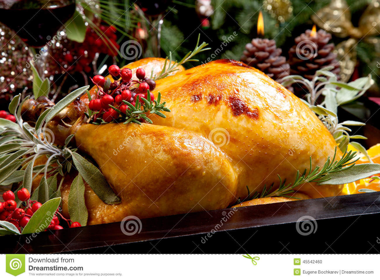 Prepared Christmas Dinners To Go  Christmas Turkey Prepared For Dinner Stock Image