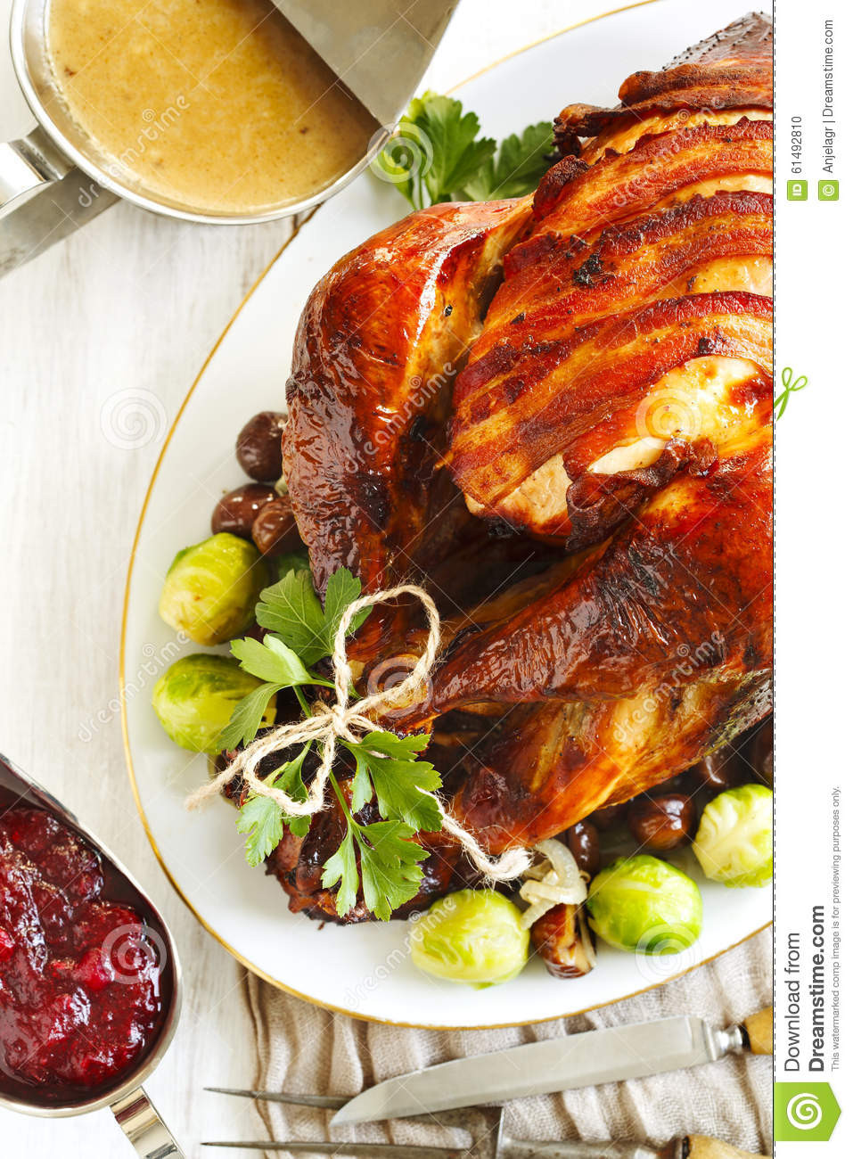 Prepared Turkey For Thanksgiving  Roasted Turkey With Bacon And Garnished With Chestnuts And