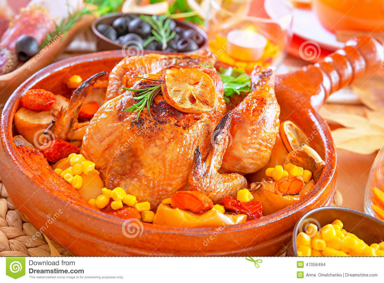Prepared Turkey For Thanksgiving  Delicious Prepared Thanksgiving Turkey Stock Image