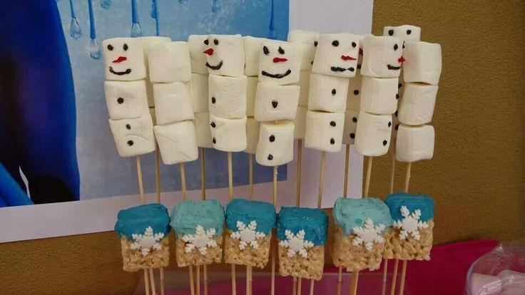 Riley Reid Christmas Cookies  Marshmallow snowmen and rice crispy treat sticks