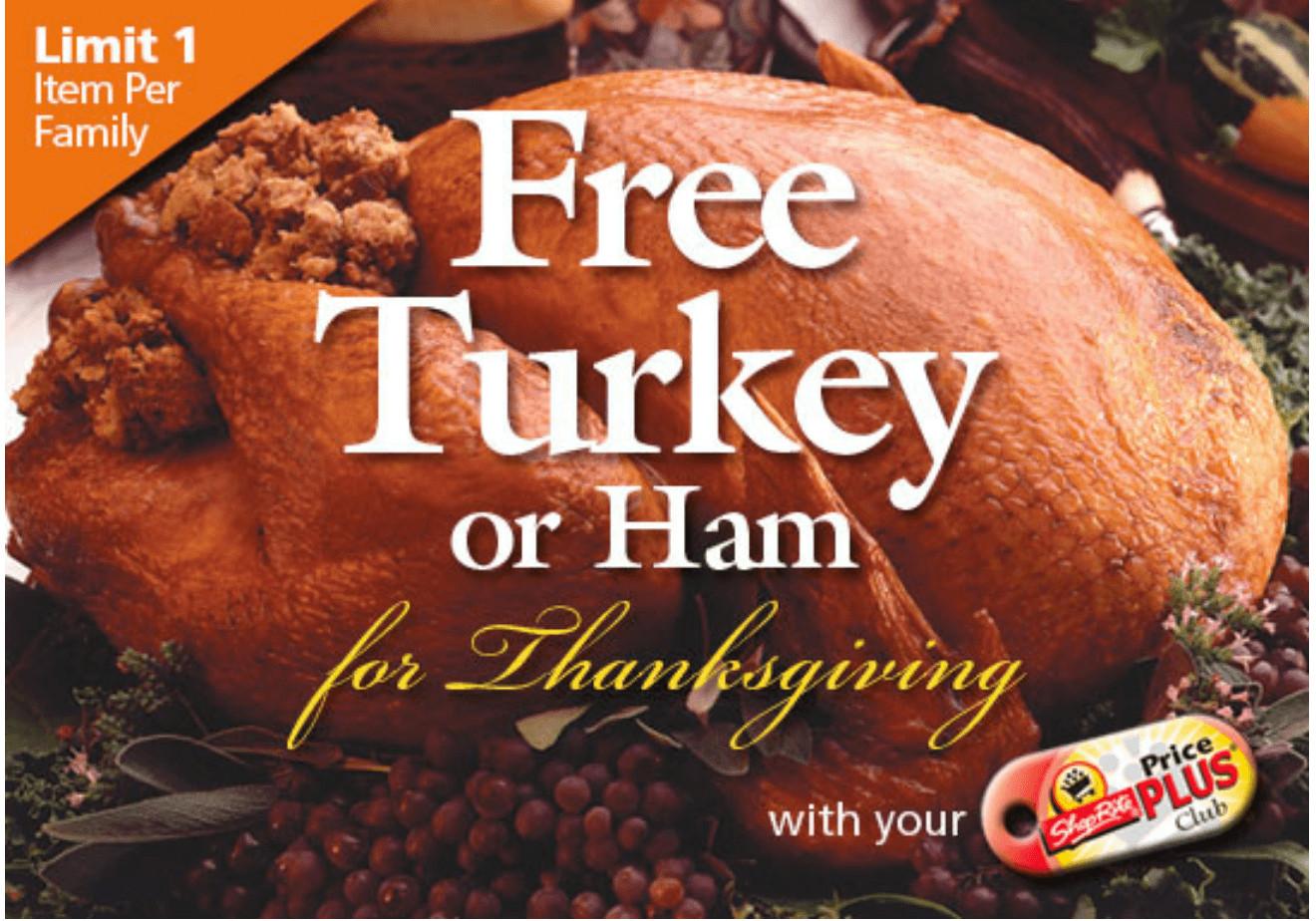 Shoprite Thanksgiving Dinner  ShopRite FREE Turkey or Ham Holiday fer fer is Back