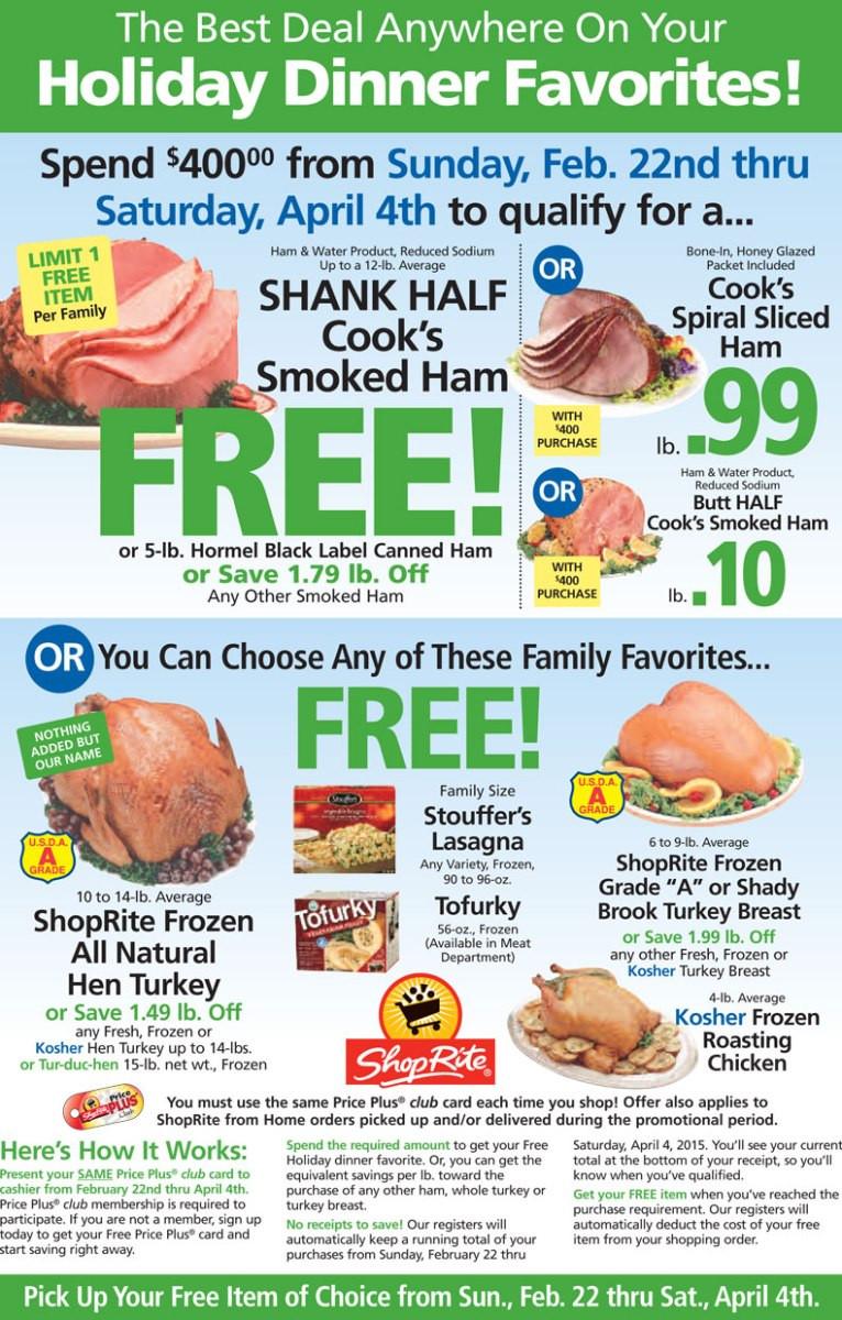 Shoprite Thanksgiving Dinner  FREE Holiday Dinner Favorite beginning Sunday April 22