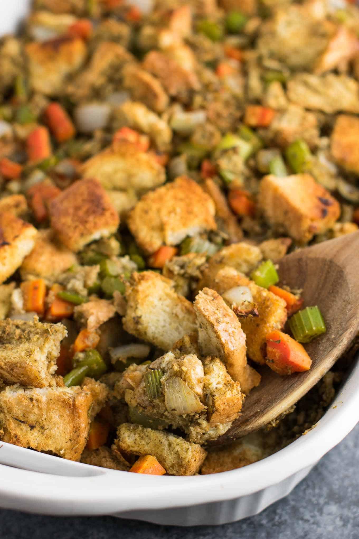 Simple Vegetarian Thanksgiving Recipes  Easy Vegan Stuffing Recipe gluten free dairy free