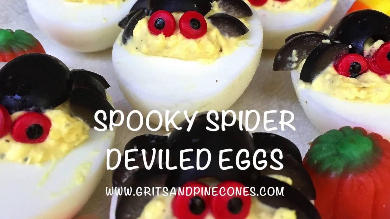 Spooky Deviled Eggs Halloween  Halloween Spooky Spider Deviled Eggs