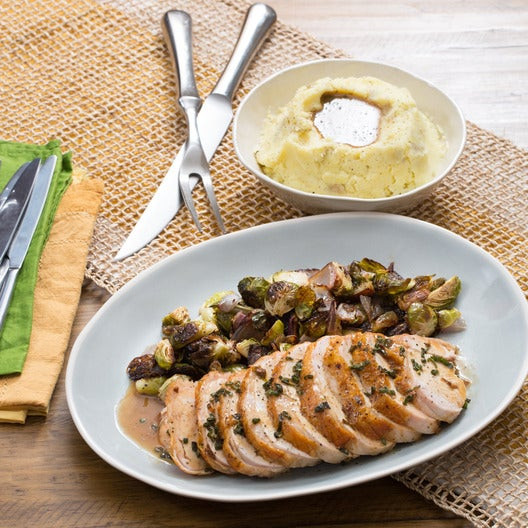 Sprouts Thanksgiving Turkey  Recipe Roasted Turkey & Brussels Sprouts with Mashed