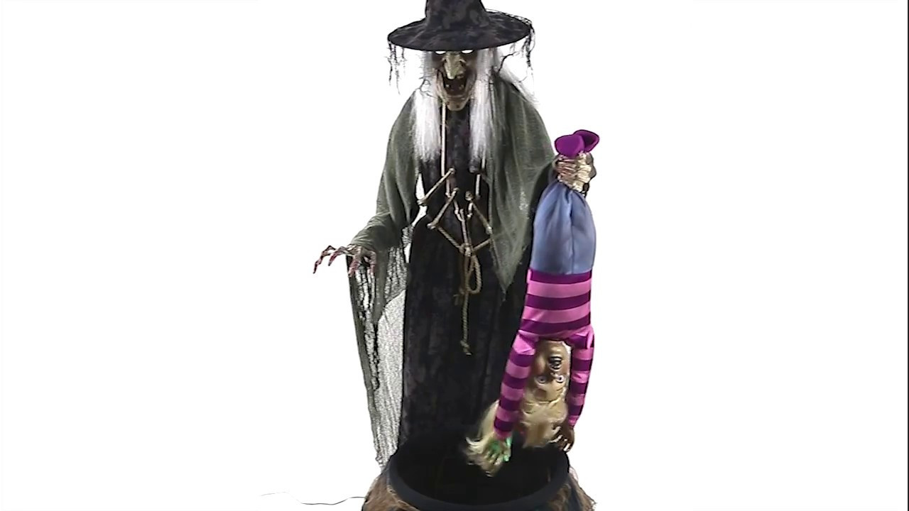 Stew Brew Witch And Child Animated Halloween Decoration  Stew Brewing Witch Animated Prop MR