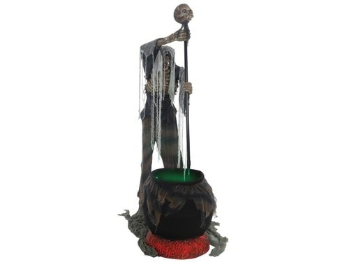 Stew Brew Witch And Child Animated Halloween Decoration  Animated Witch Prop With Cat And Cauldron