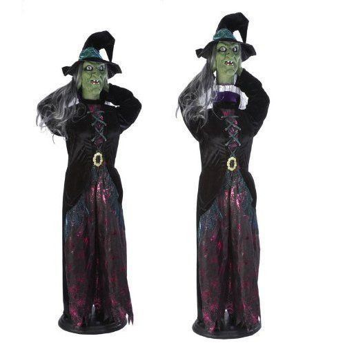 Stew Brew Witch And Child Animated Halloween Decoration  Heads up Hilda 6 Foot Animated Witch