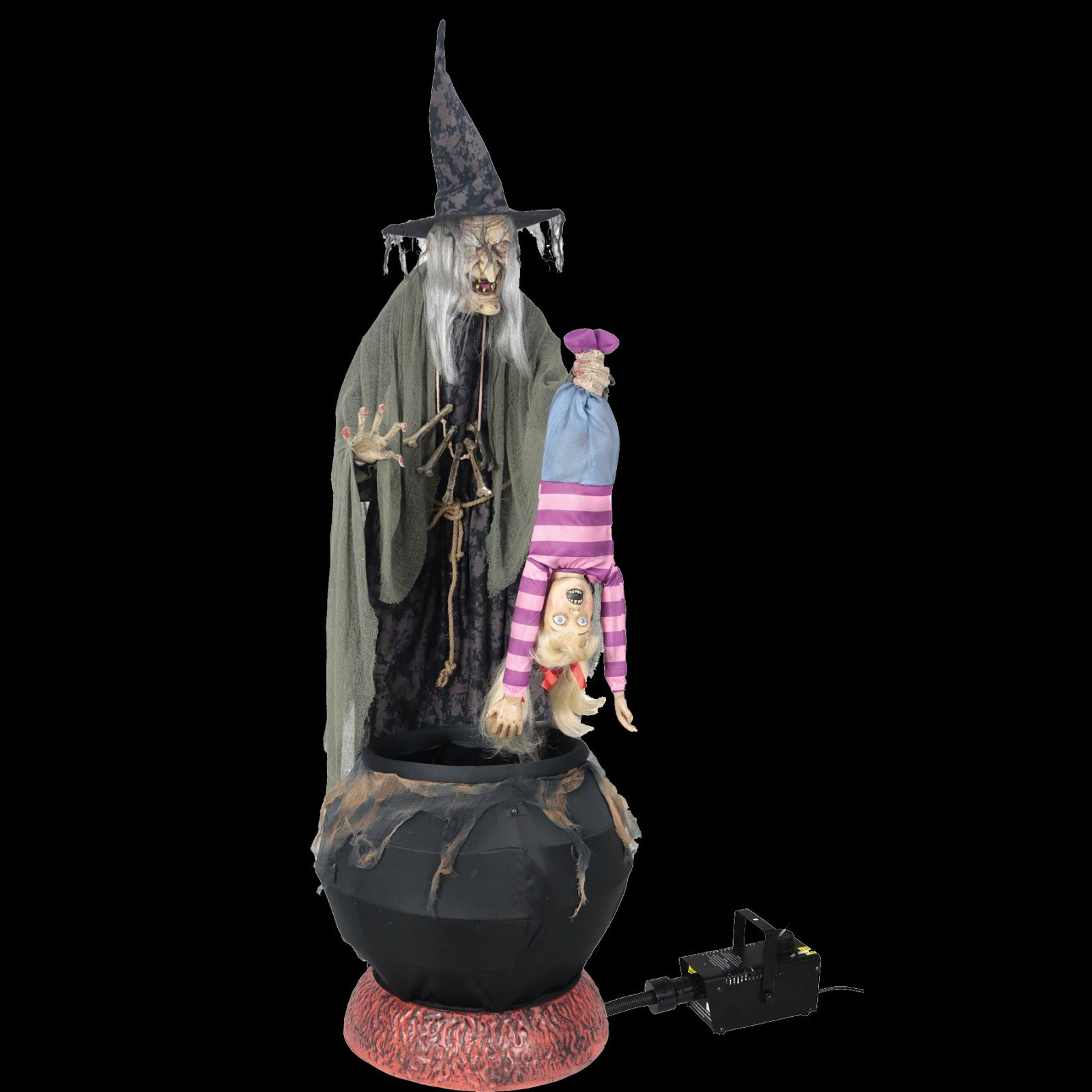 Stew Brew Witch And Child Animated Halloween Decoration  HORROR HALL Gothic Cheap Halloween Props and Costume
