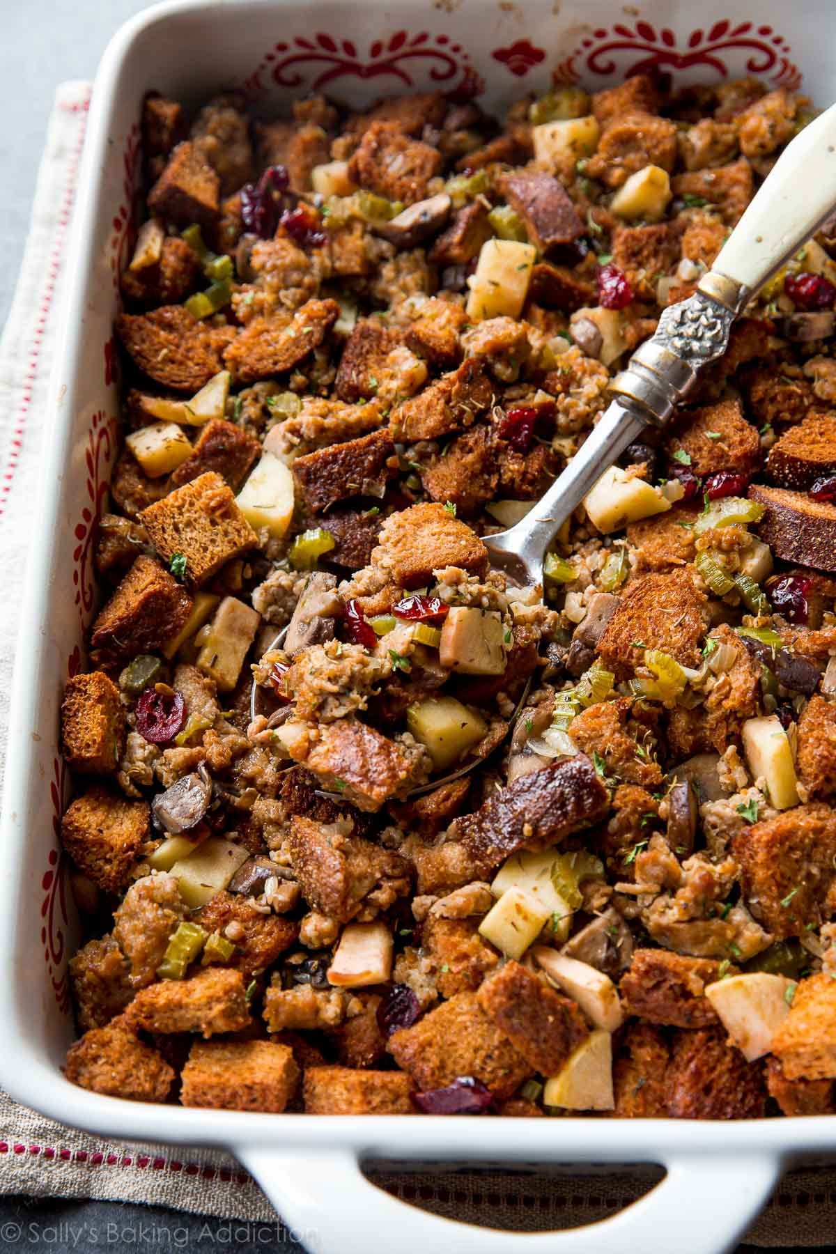 Thanksgiving Apple Recipes  Herbed Sausage Cranberry and Apple Stuffing Sallys
