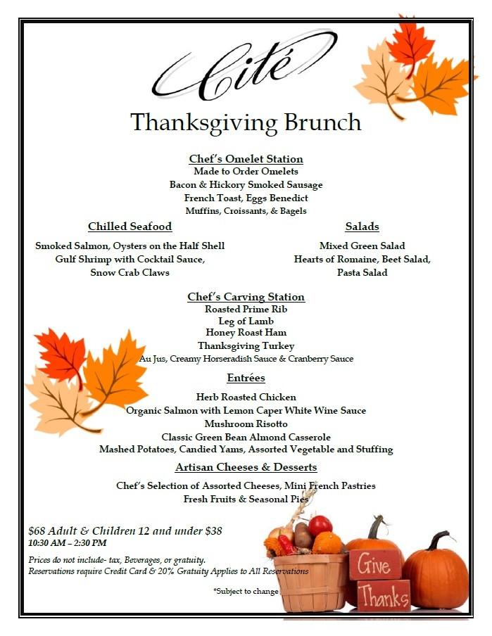 Thanksgiving Breakfast Menus  Cite Restaurant Downtown Chicago Thanksgiving Brunch