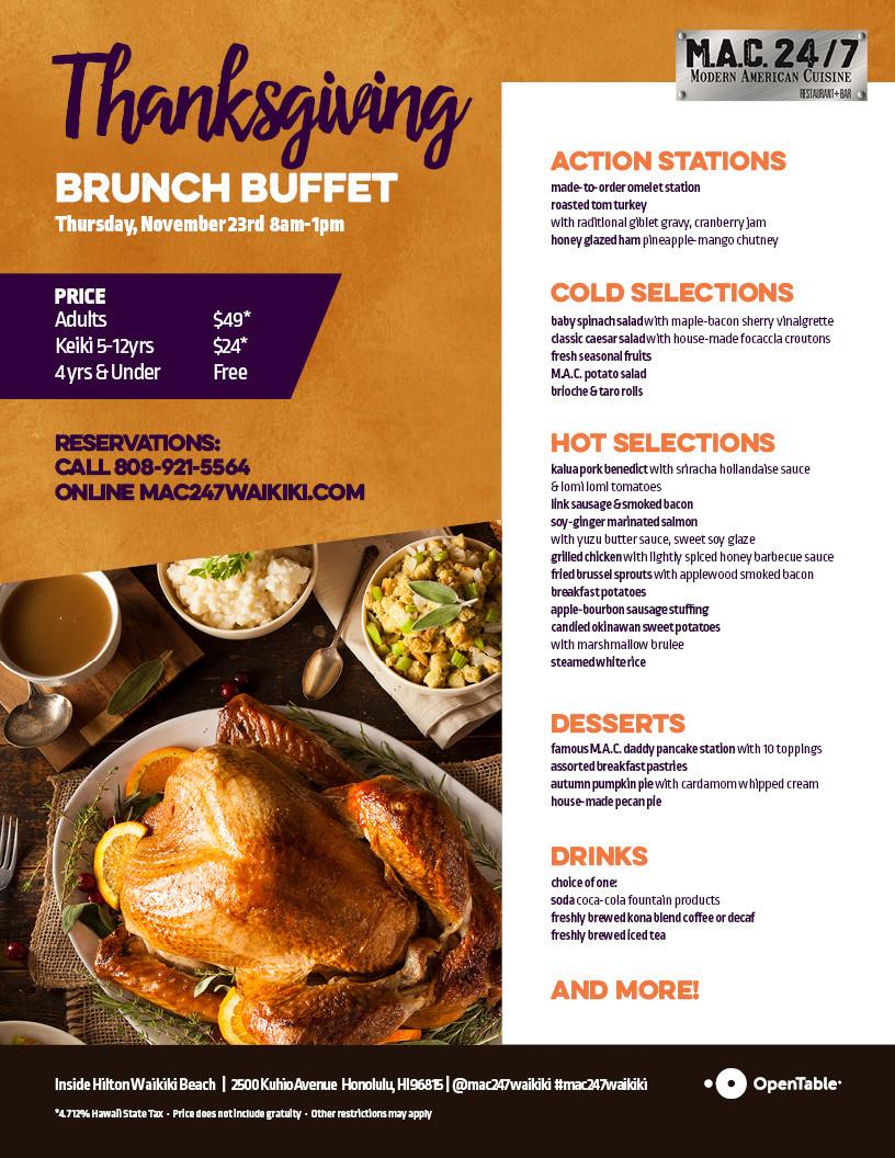 Thanksgiving Breakfast Menus  Thanksgiving Brunch Buffet Mac 24 7 Restaurant Bar