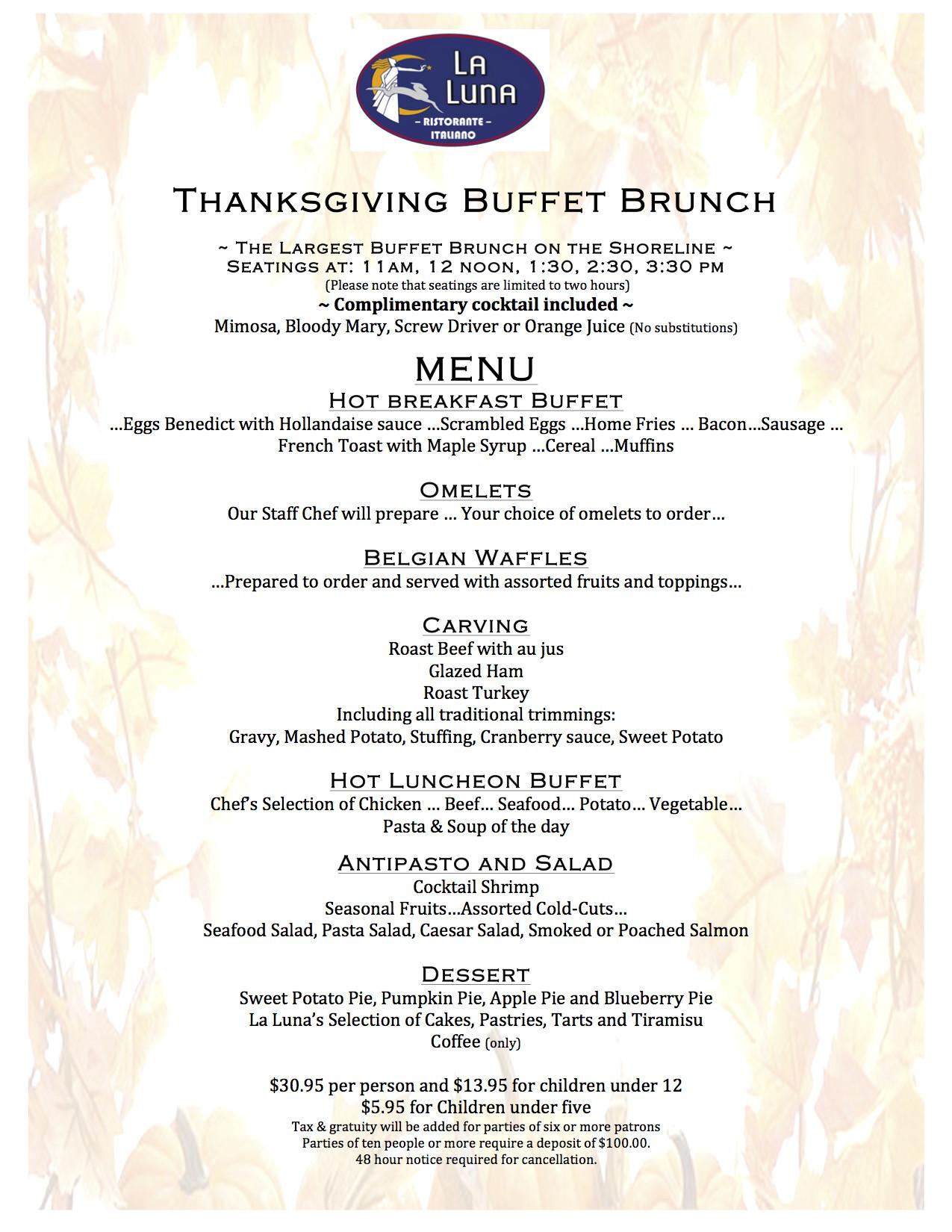Thanksgiving Breakfast Menus  La Luna Ristorante Italiano Branford CT
