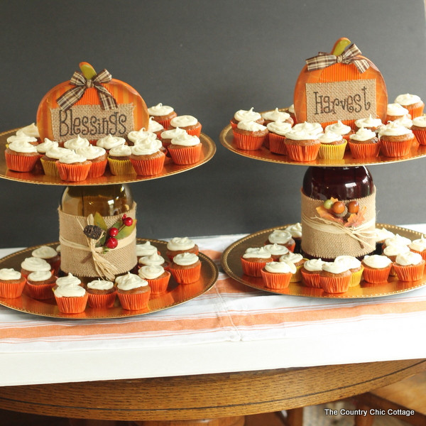 Thanksgiving Day Desserts  Tiered Fall Dessert Stand make this in minutes The
