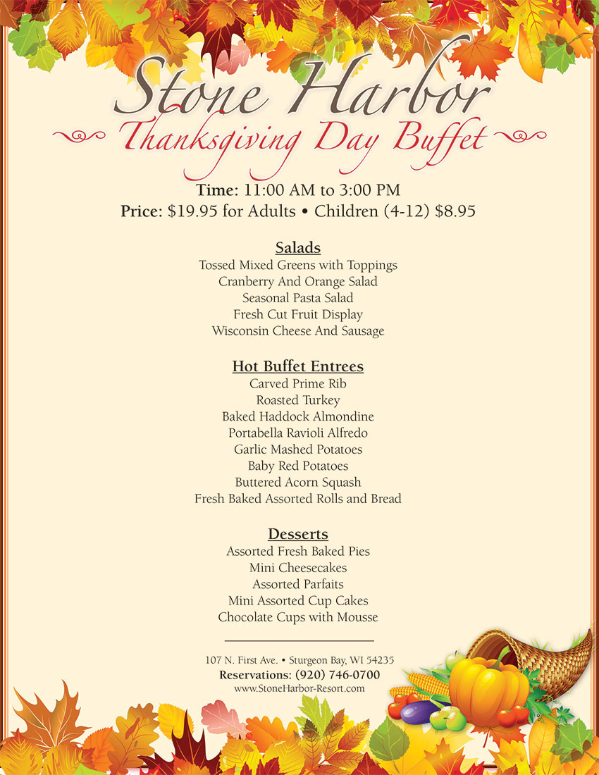 Thanksgiving Dinner Restaurants 2019  Thanksgiving Day Buffet Stone Harbor Resort