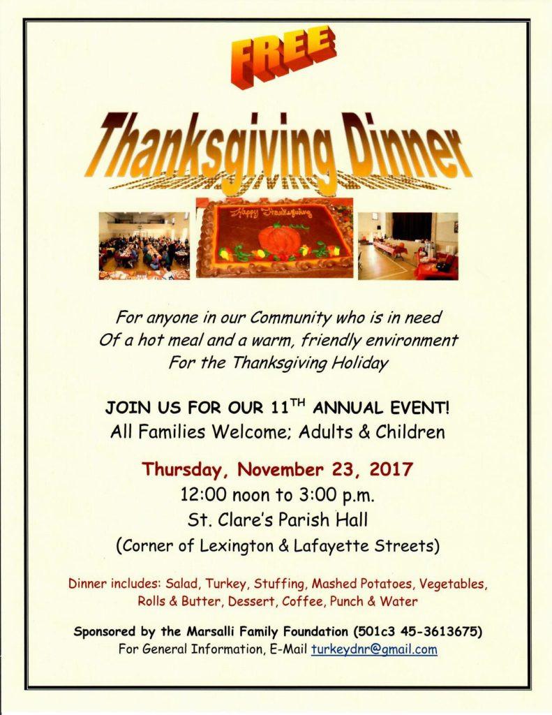 Thanksgiving Dinner To Go 2019  Thanksgiving Dinner 2017 – St Clare Parish