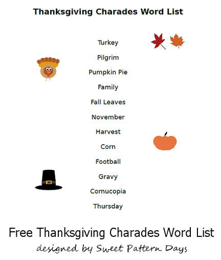 Thanksgiving Dinner Word Whizzle Search  Printable Thanksgiving Charades Words