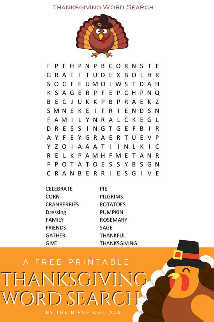 Thanksgiving Dinner Word Whizzle Search  A Thanksgiving Word Search Printable for Children The