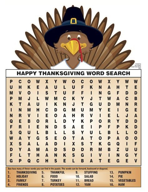 Thanksgiving Dinner Word Whizzle Search  Thankful Activities for Kids