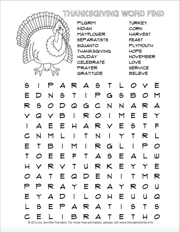 Thanksgiving Dinner Word Whizzle Search  Thanksgiving Word Find Free Printable Flanders Family