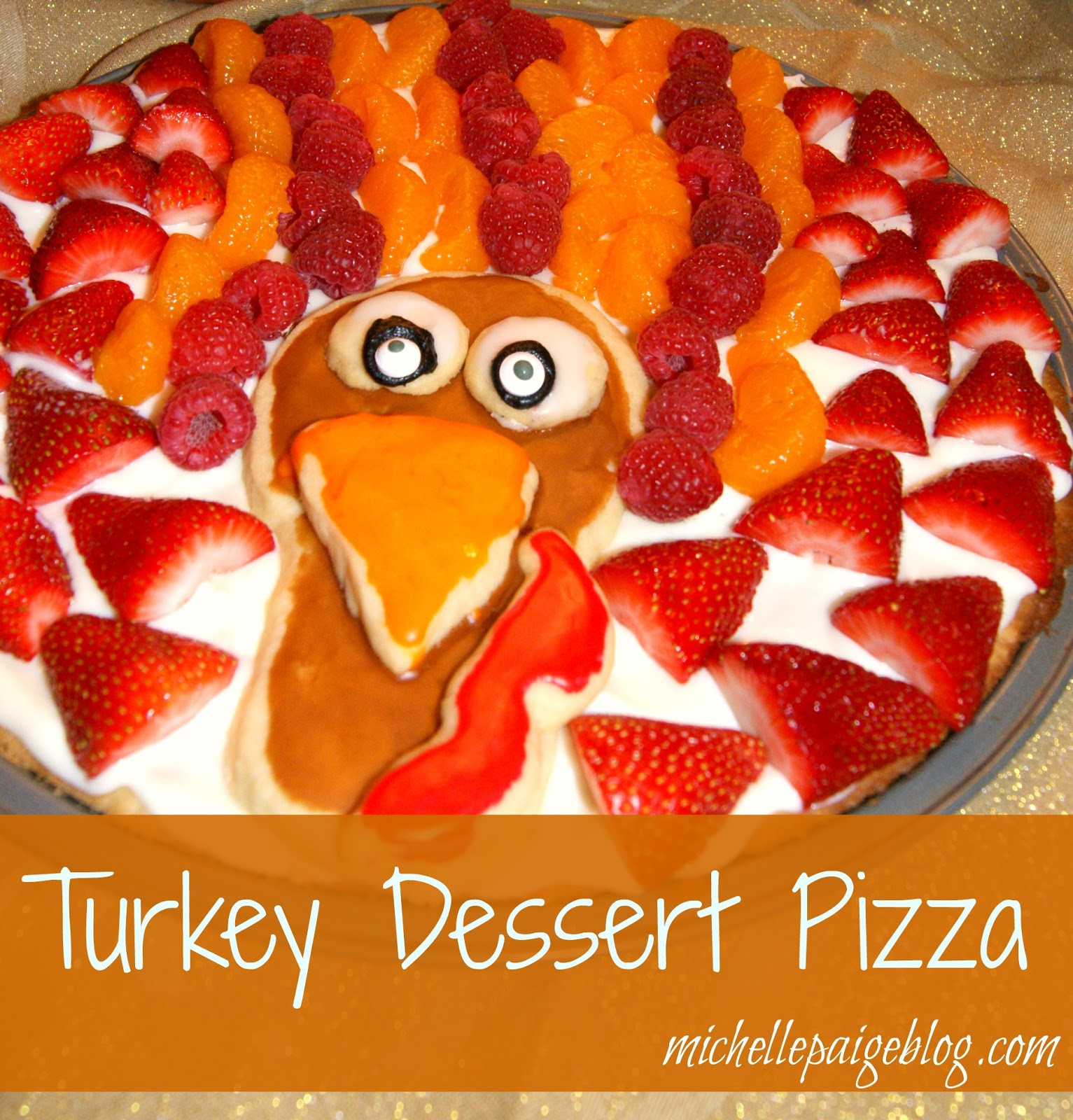 Thanksgiving Fruit Desserts  michelle paige blogs Sugar Cookie Turkey Dessert Pizza