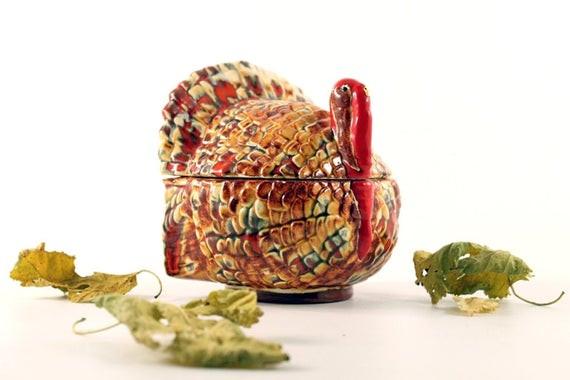 Thanksgiving Gravy Boat  Vintage Thanksgiving Turkey Gravy Boat Candy Dish by Circa810