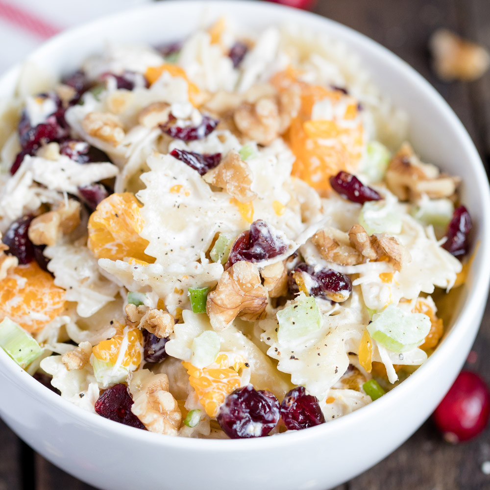 Thanksgiving Pasta Salad  Turkey Cranberry and Walnut Pasta Salad