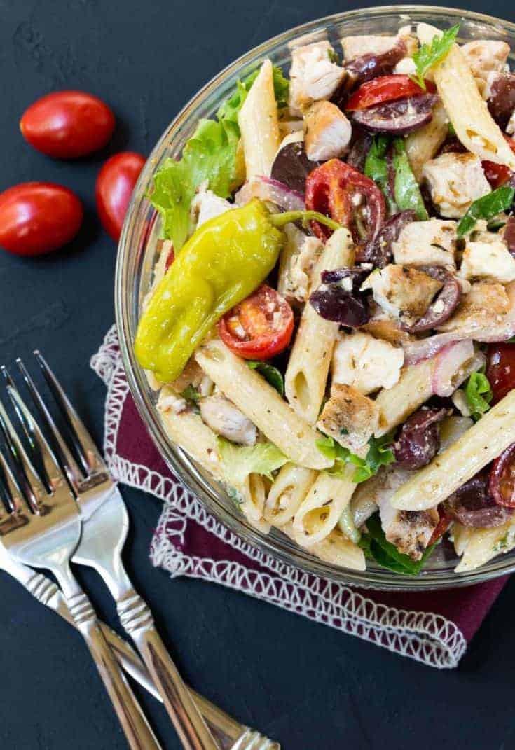Thanksgiving Pasta Salad  Greek Turkey Pasta Salad Recipe Garnish with Lemon