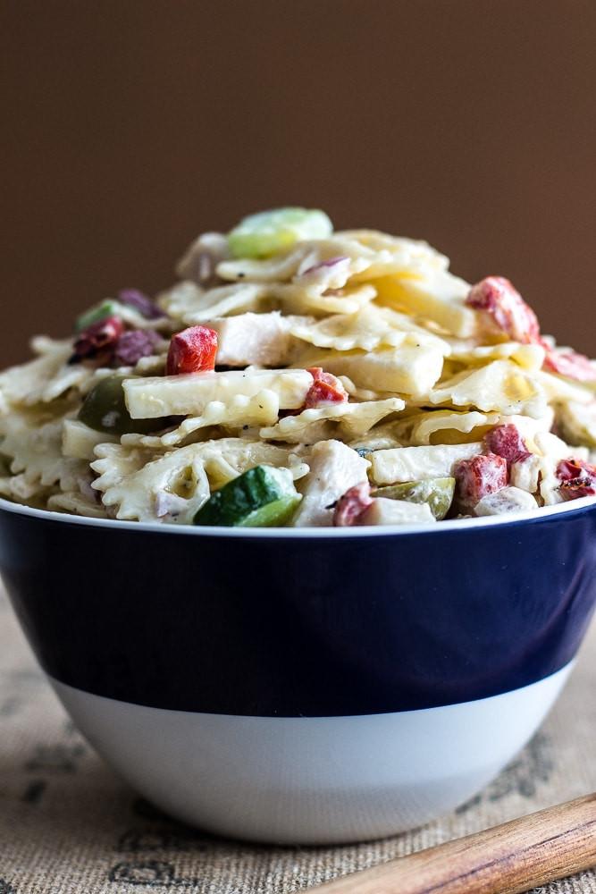 Thanksgiving Pasta Salad  Zesty Twisted Turkey Pasta Salad