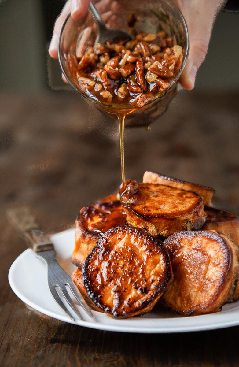 Thanksgiving Potatoes Recipe  Melting Sweet Potatoes Roasted with Maple Pecan Sauce