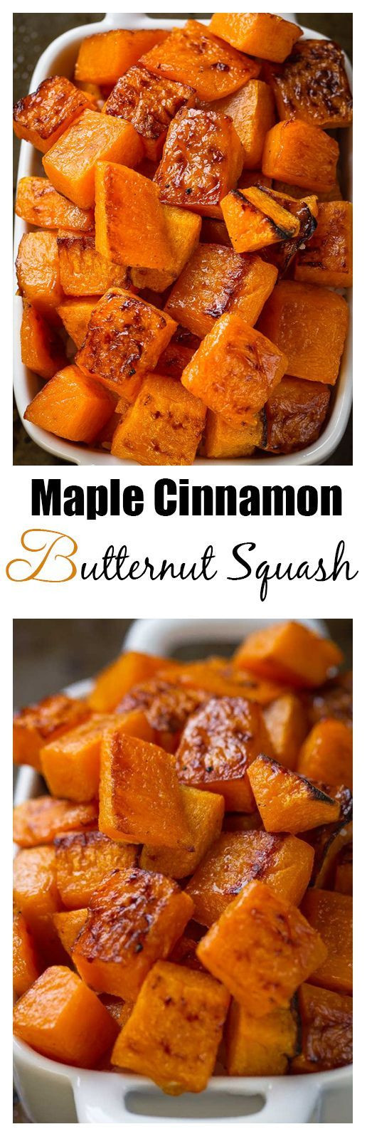 Thanksgiving Side Dishes 2019  Maple Cinnamon Roasted Butternut Squash makes an easy