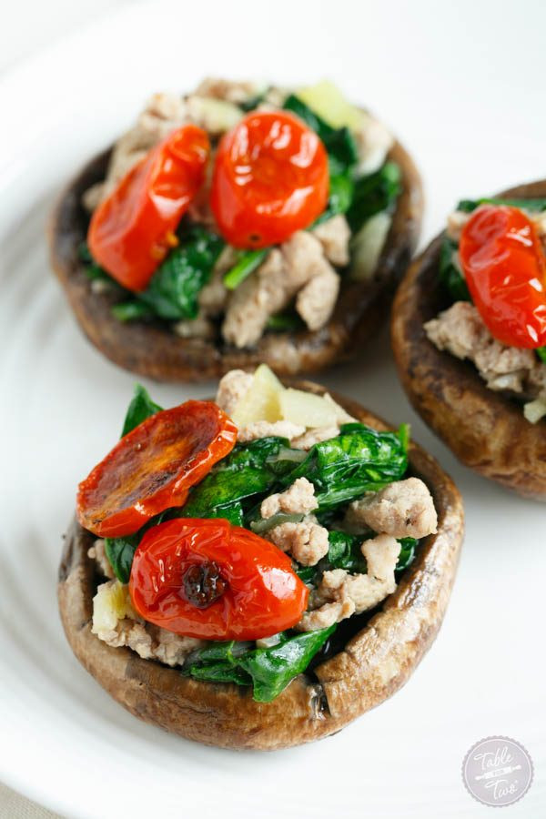 Thanksgiving Stuffed Mushrooms  Ground Turkey and Spinach Stuffed Mushrooms Table for Two