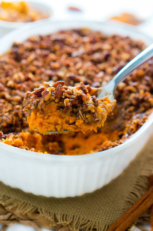 Thanksgiving Sweet Potatoes Recipe  Healthy Sweet Potato Casserole with Pecan Topping