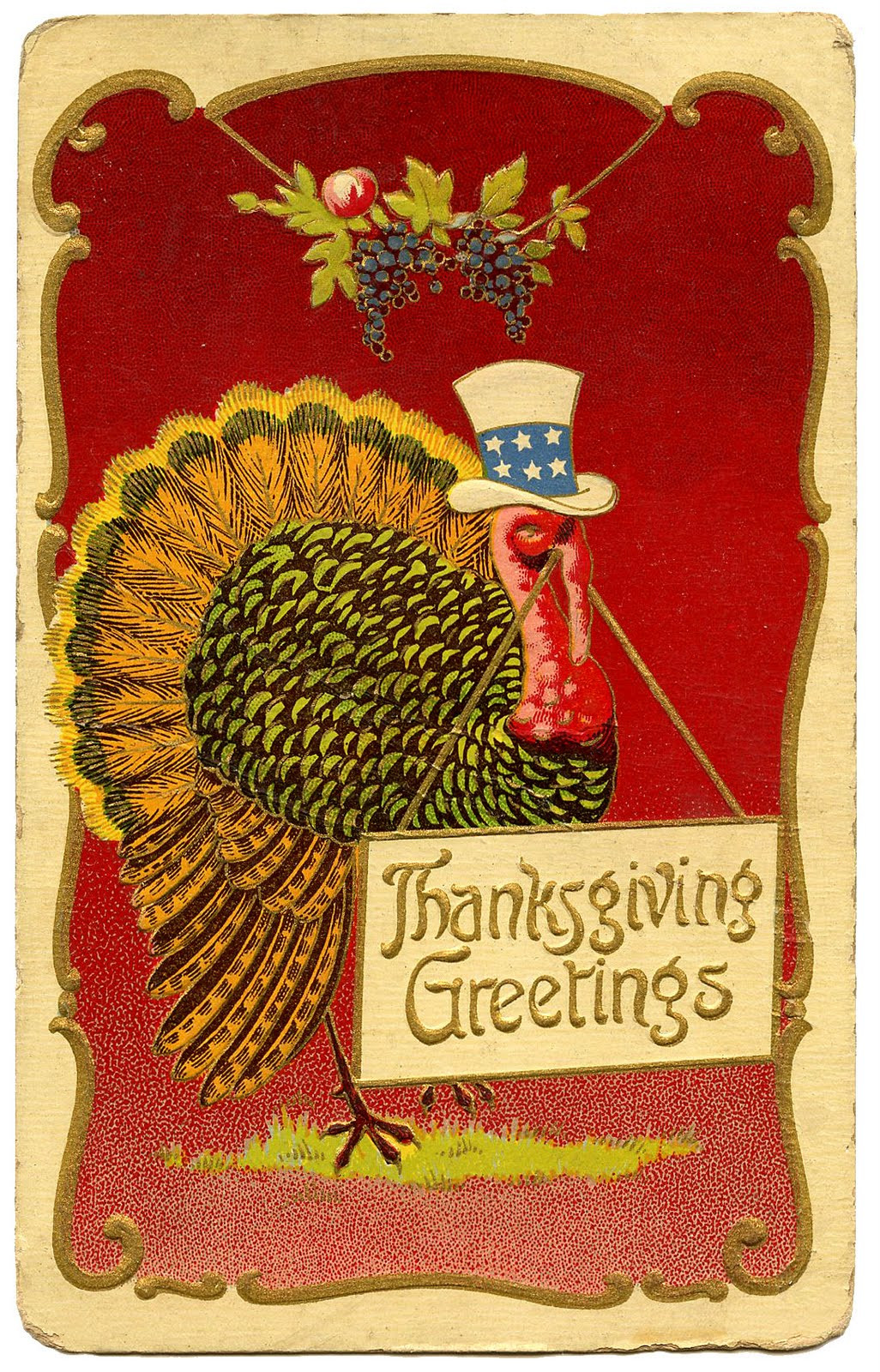 Thanksgiving Turkey Art  Vintage Thanksgiving Clip Art Patriotic Turkey The