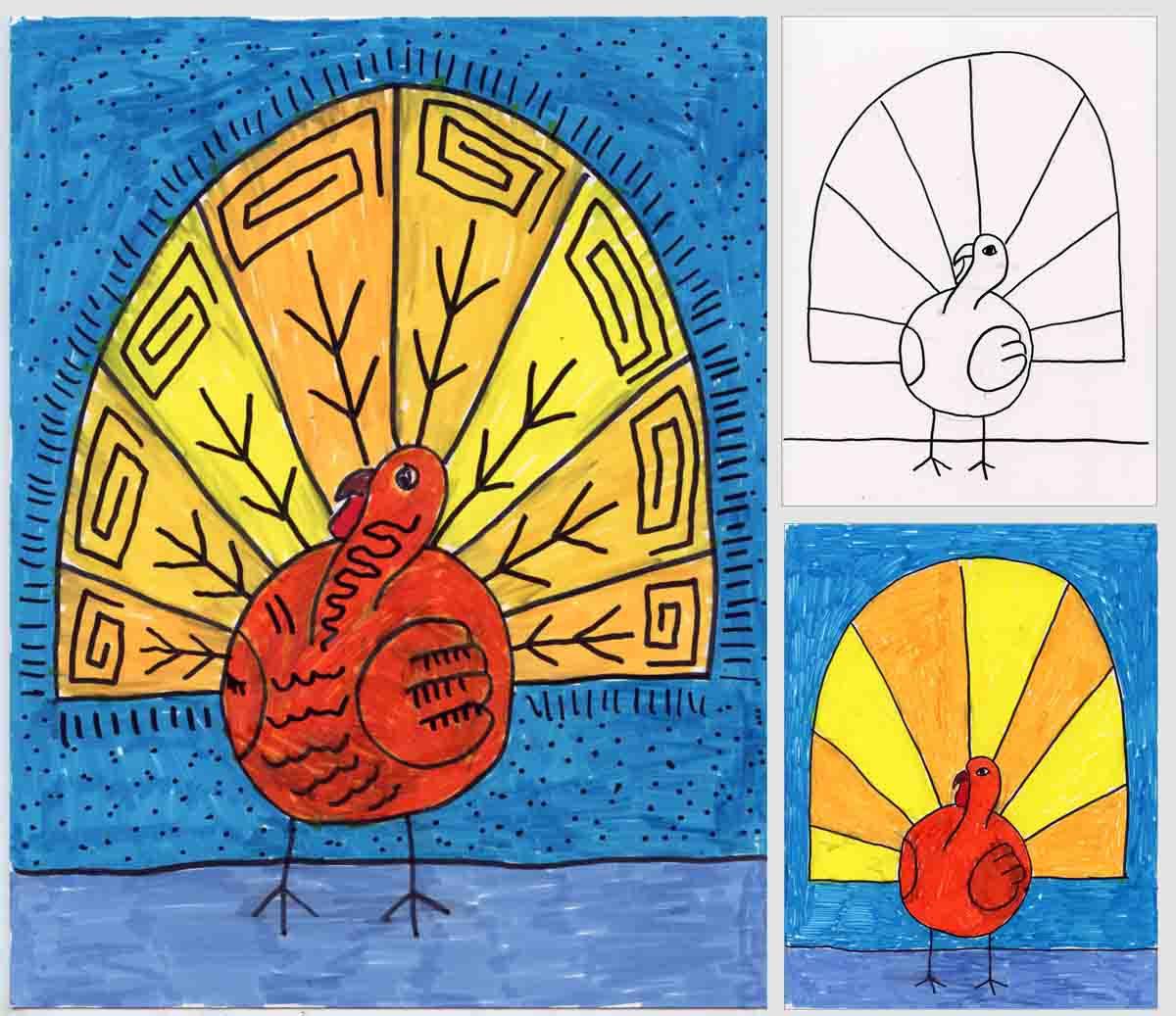 Thanksgiving Turkey Art  Abstract Turkey Drawing
