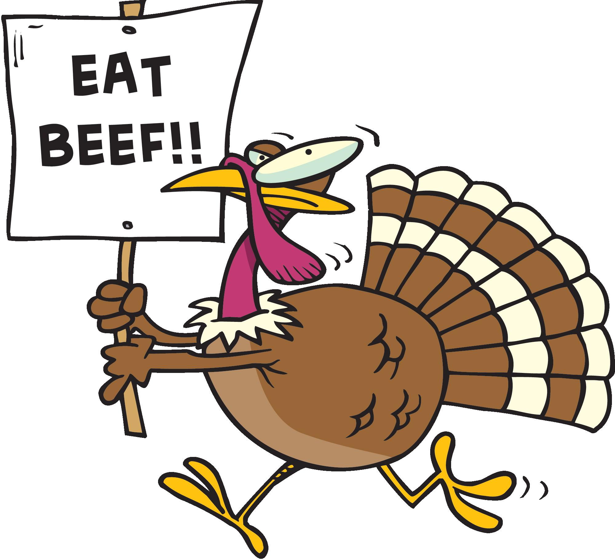 Thanksgiving Turkey Art  Eat Beef Funny Turkey Clipart Image