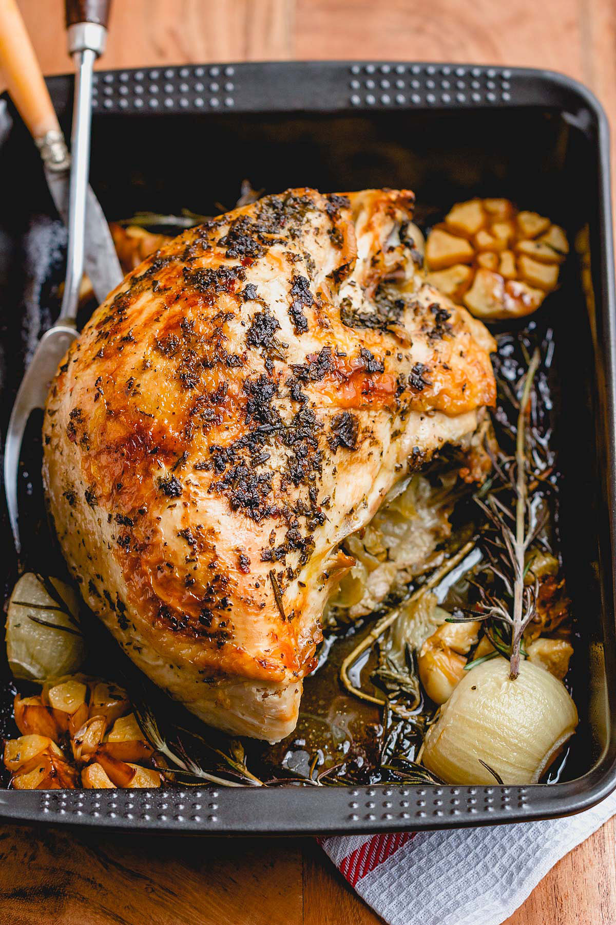 Thanksgiving Turkey Breast Recipe  Roasted Turkey Breast Recipe with Garlic Herb Butter