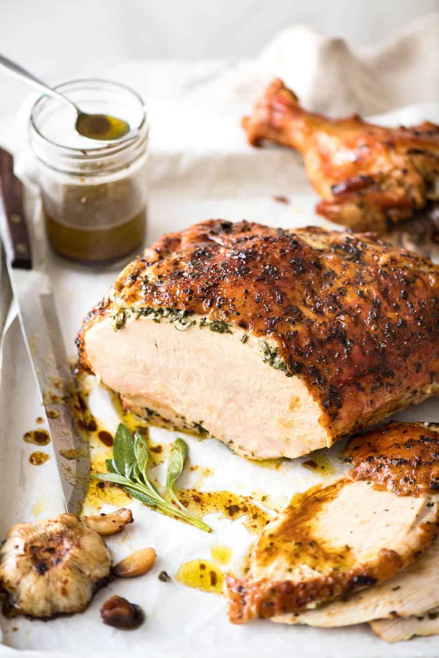Thanksgiving Turkey Breast Recipe  Garlic Herb Butter Roasted Turkey Breast