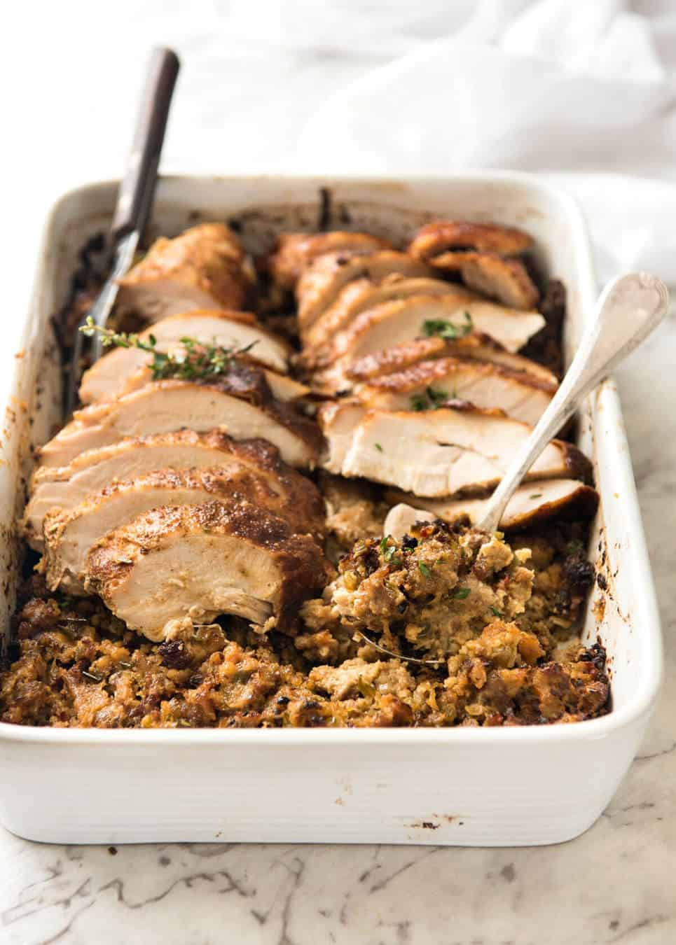 Thanksgiving Turkey Breast Recipe  Cajun Baked Turkey Breast and Dressing Stuffing
