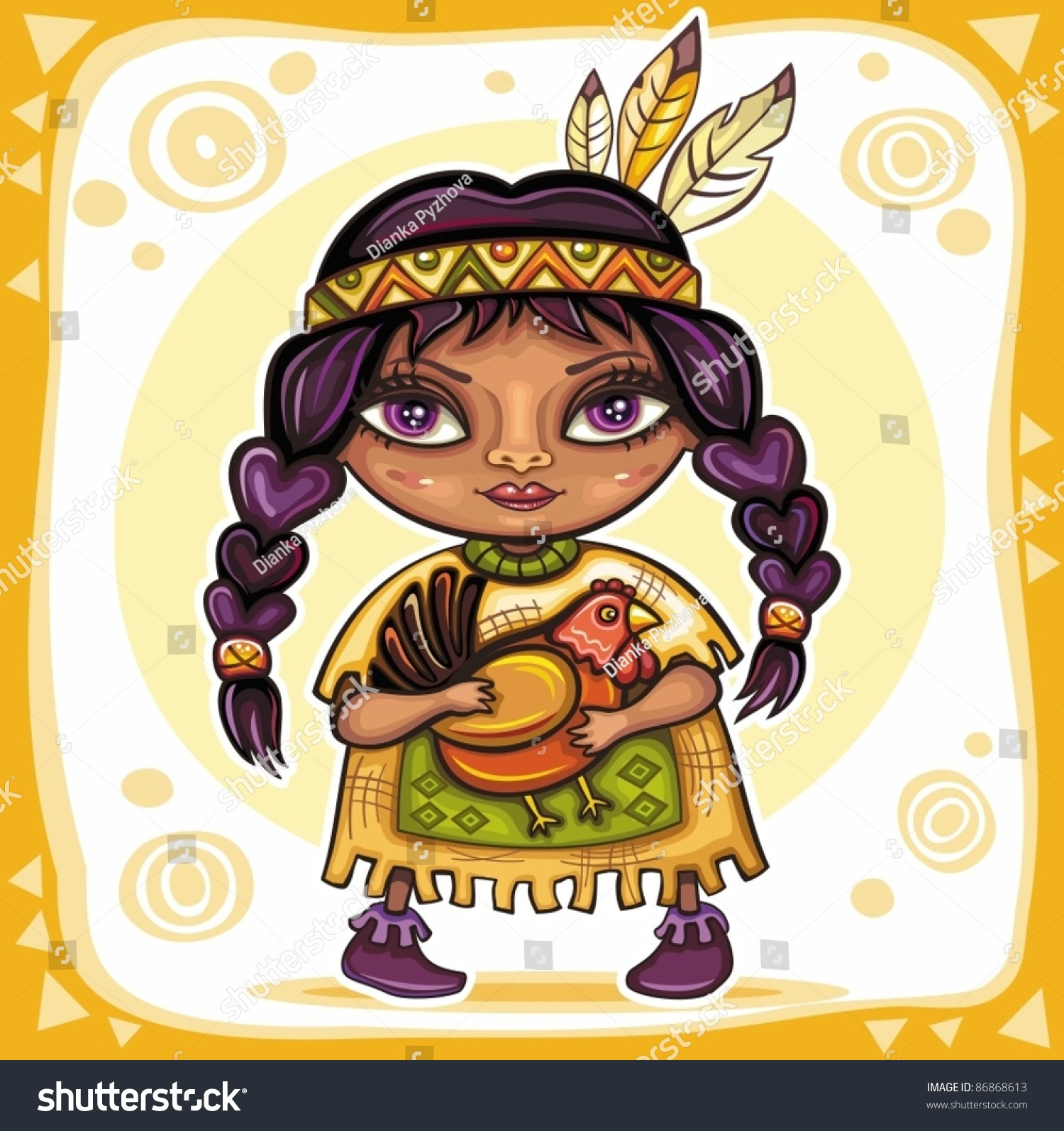 Thanksgiving Turkey Indian Style  Thanksgiving Theme Cute North American Indian Girl With