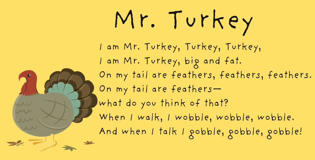 Thanksgiving Turkey Poem  Our School House Songs and Poems Thanksgiving