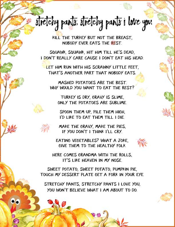 Thanksgiving Turkey Poem  Funny Thanksgiving Poems to Whet Your Appetite TGIF