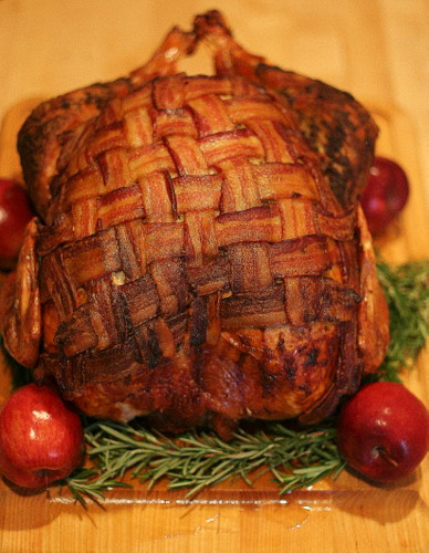 Thanksgiving Turkey With Bacon  Bacon Blanketed Herb Roasted Turkey