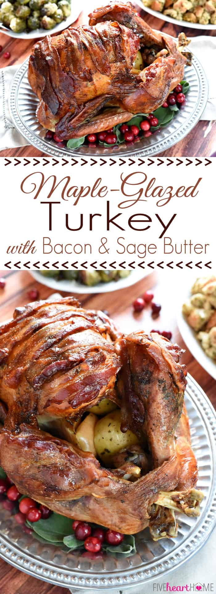 Thanksgiving Turkey With Bacon  Maple Glazed Turkey with Bacon and Sage Butter
