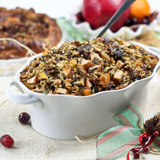 Thanksgiving Wild Rice  Brown and Wild Rice Turkey Stuffing with Chestnuts and