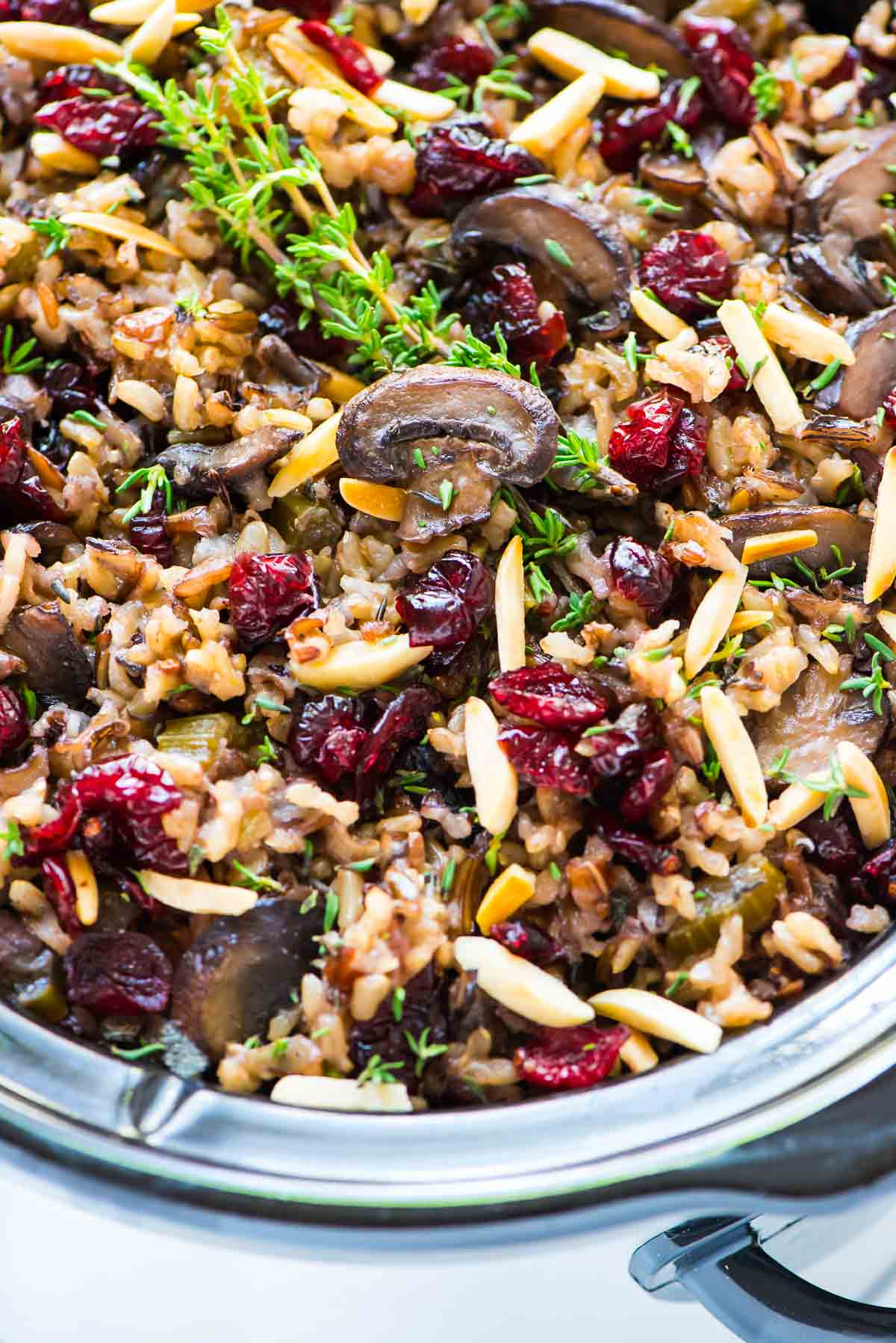 Thanksgiving Wild Rice  Crock Pot Stuffing with Wild Rice Cranberries and Almonds